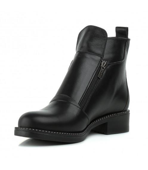 Черевики жіночі шкіряні чорні на каблуку Kento