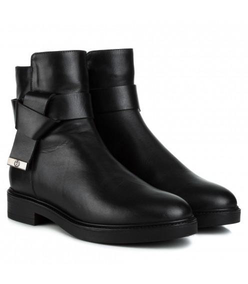 Черевики жіночі шкіряні чорні на каблуку Monroe