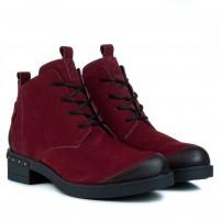 Ботинки женские нубуковые бордовые на каблуке Mariani