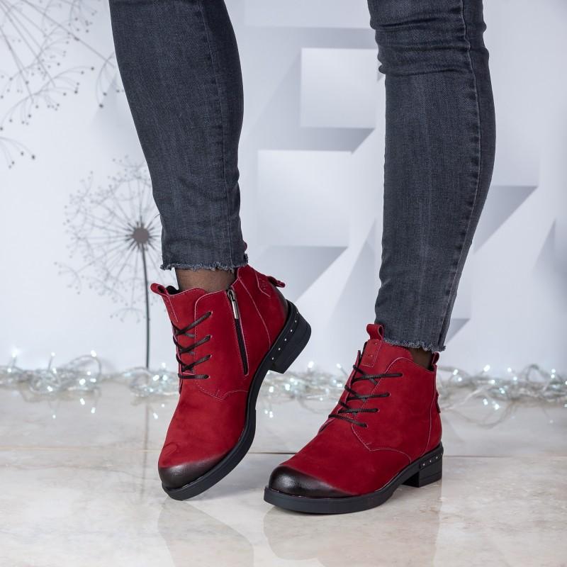 Черевики жіночі нубукові бордові на каблуку Mariani