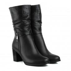 Полусапоги женские кожаные на удобном каблуке Kvitas