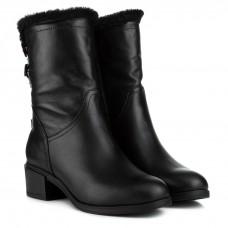 Полусапоги женские кожаные черные на каблуке Foletti