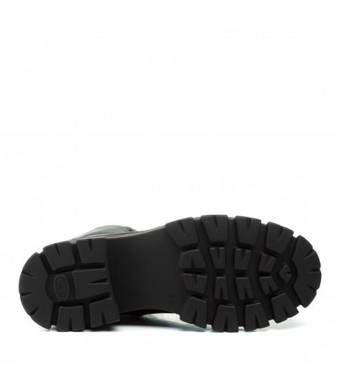 Зимові черевики Kadar на тракторній підошві на шнурках шкіряні чорні