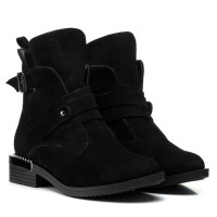 Ботинки женские замшевые черные зимние Zumer