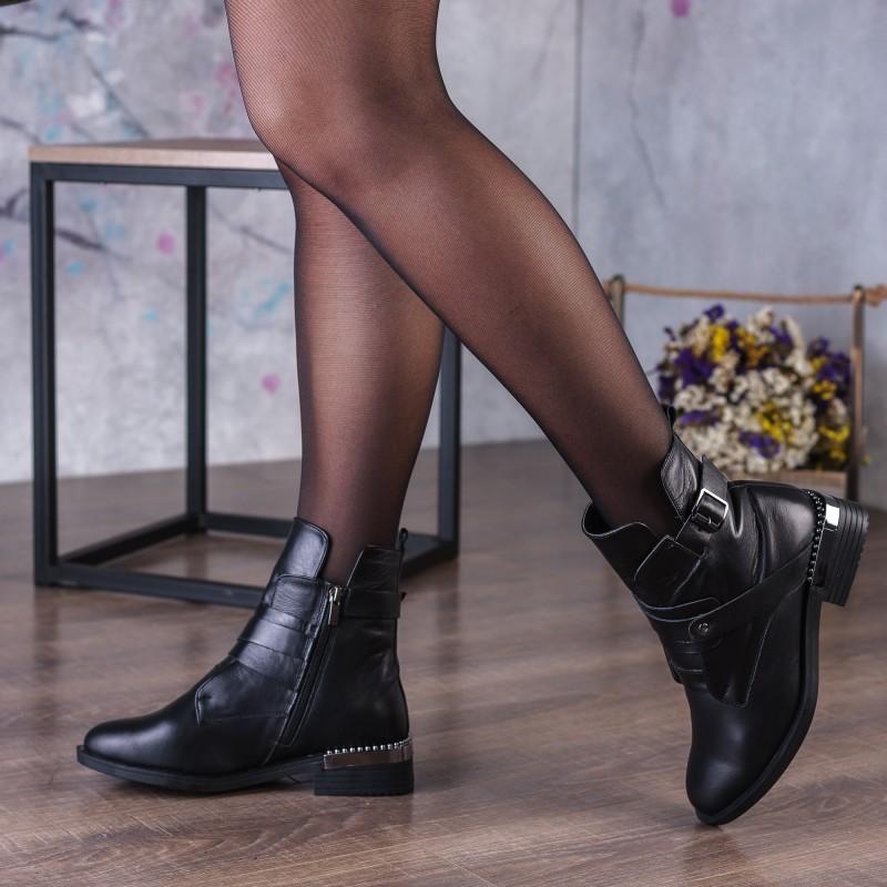 Черевики шкіряні чорні на низькому ходу Zumer