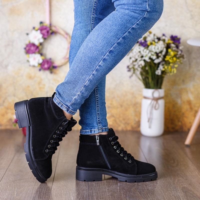 Черевики жіночі замшеві зимові на шнуровці Kento