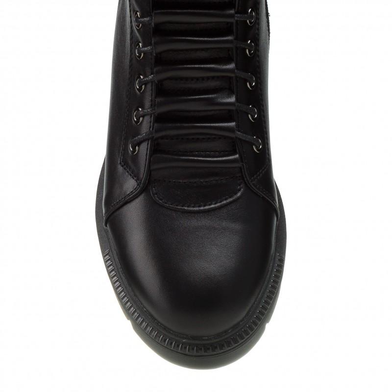 Черевики жіночі шкіряні чорні зимові на шнурівці Kento