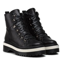 Ботинки Kento на тракторной подошве на шнуровке черные кожаные