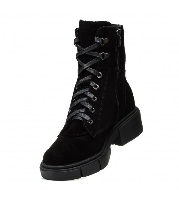 Черевики жіночі замшеві чорні на шнурках Kento