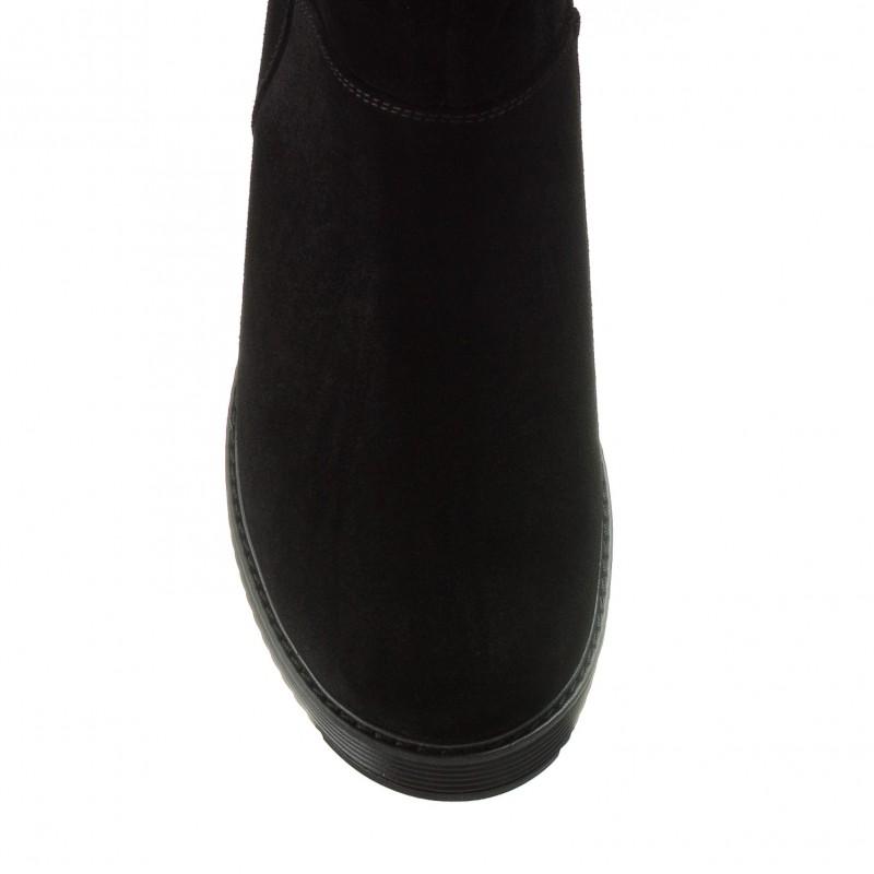 Чоботи жіночі замшеві чорні зимові на каблуці Скорпіон