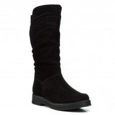 Сапоги женские замшевые черные зимние на каблуке Скорпіон