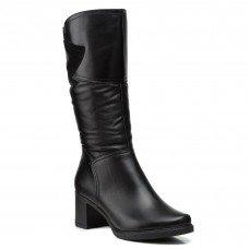 Сапоги женские кожаные черные на каблуке Скорпион