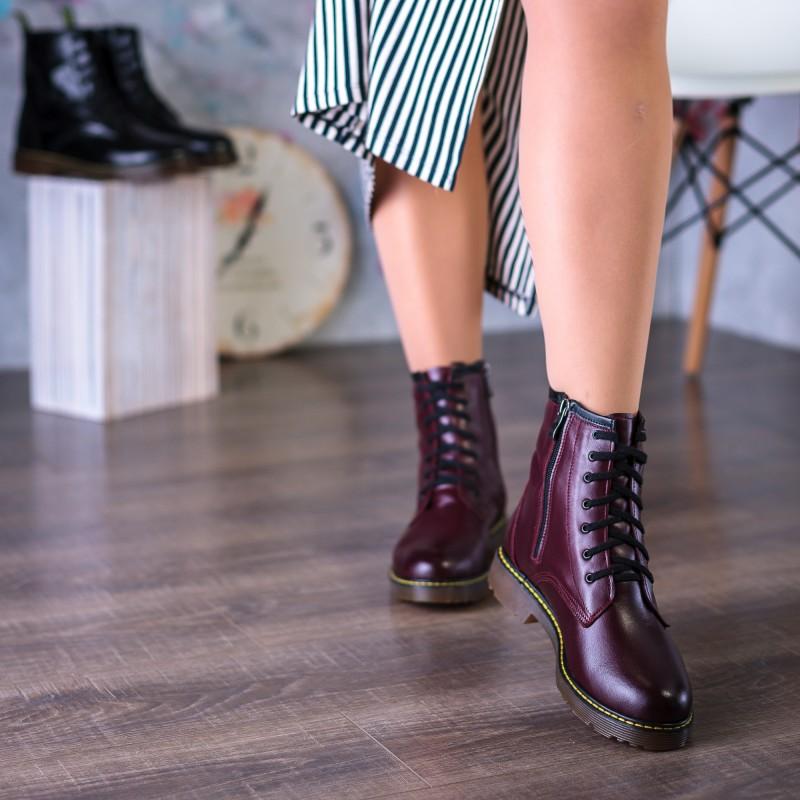 Ботинки женские кожаные зимние бордовые Aspena