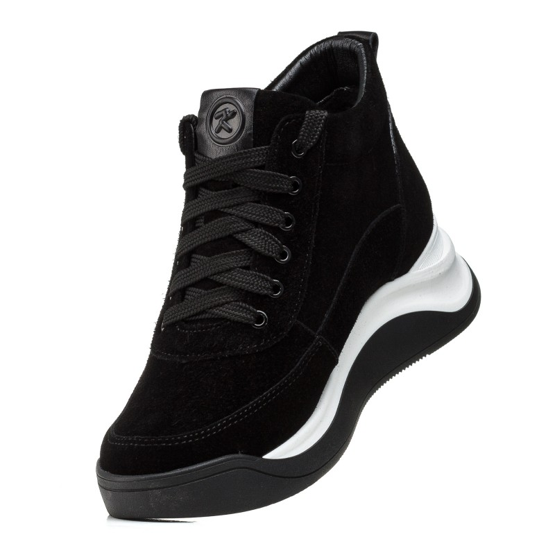 Кросівки жіночі замшеві чорні зимові Kento