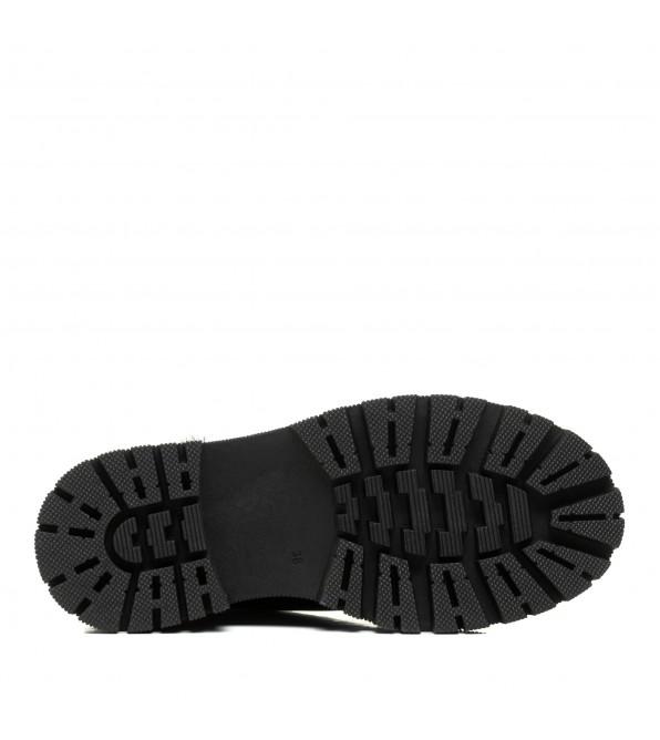 Черевики жіночі шкіряні на шнурівках чорні