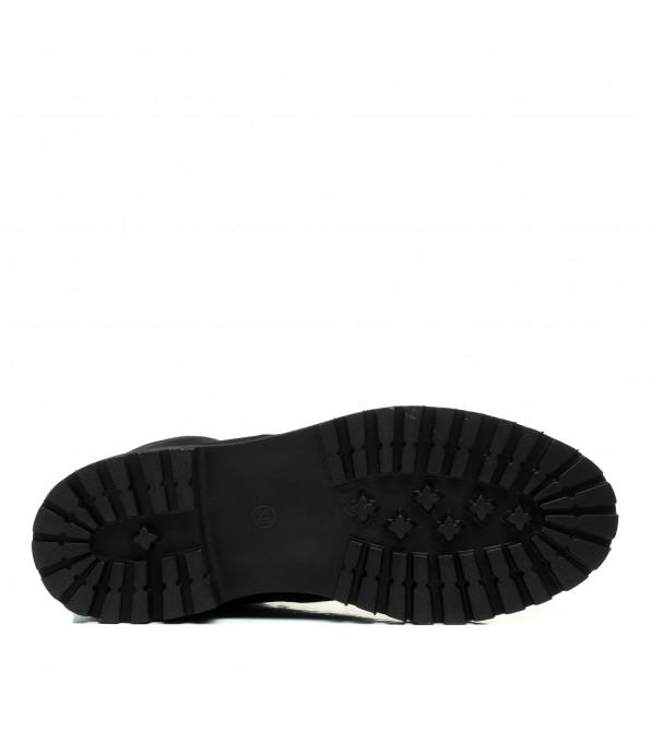 Черевики чорні Monroе нубук на шнурівках зручні зимові