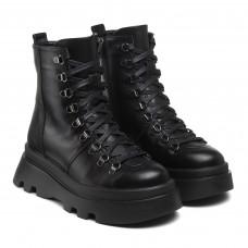 Черевики зимові Kento чорні шкіряні на шнурівках на зручній підошві