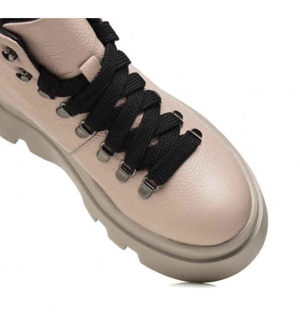 Черевики жіночі Kento бежеві на шнурівках на платформі