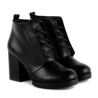 Ботинки на шнуровке и широком каблуке Monroe кожаные черные зимние