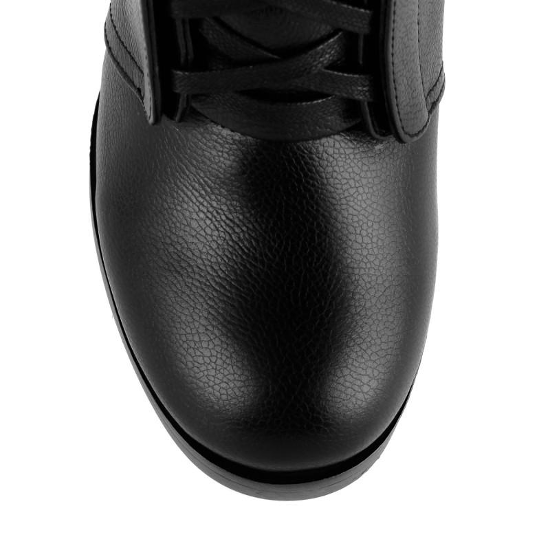 Черевики на шнурівках і широкому каблуці Monroe шкіряні чорні зимові