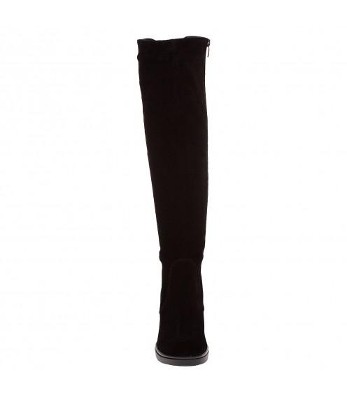 Ботфорти замшеві на зручному каблуці Kento чорні зимові класичні