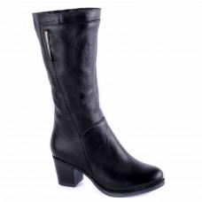 Полусапоги женские кожаные зимние Kvitas на удобном среднем каблуке