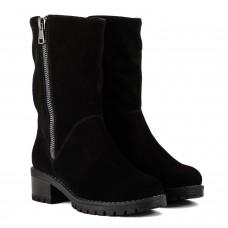 Сапоги женские замшевые черные на среднем каблуке с декоративным замком