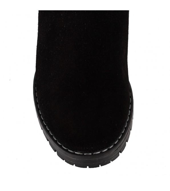 Чоботи жіночі замшеві чорні на середньому каблуці з декоративним замком