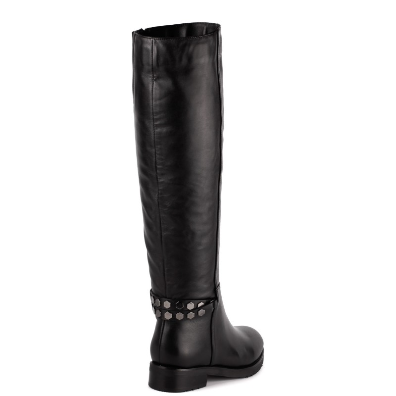 Женские сапоги кожаные черные на низком каблуке Monroe