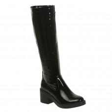 Чоботи жіночі чорні на низькому квадратному каблуку