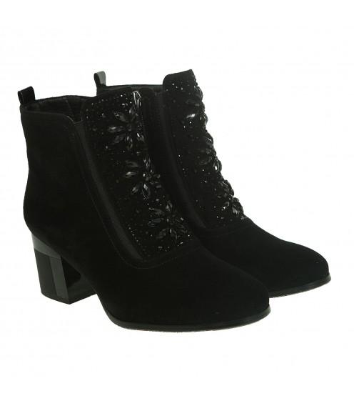 Ботильйони жіночі замшеві чорні на широкому каблуку зі стразами