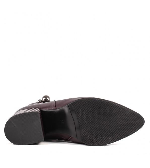 Ботильйони жіночі шкіряні бордові на широкому каблуку
