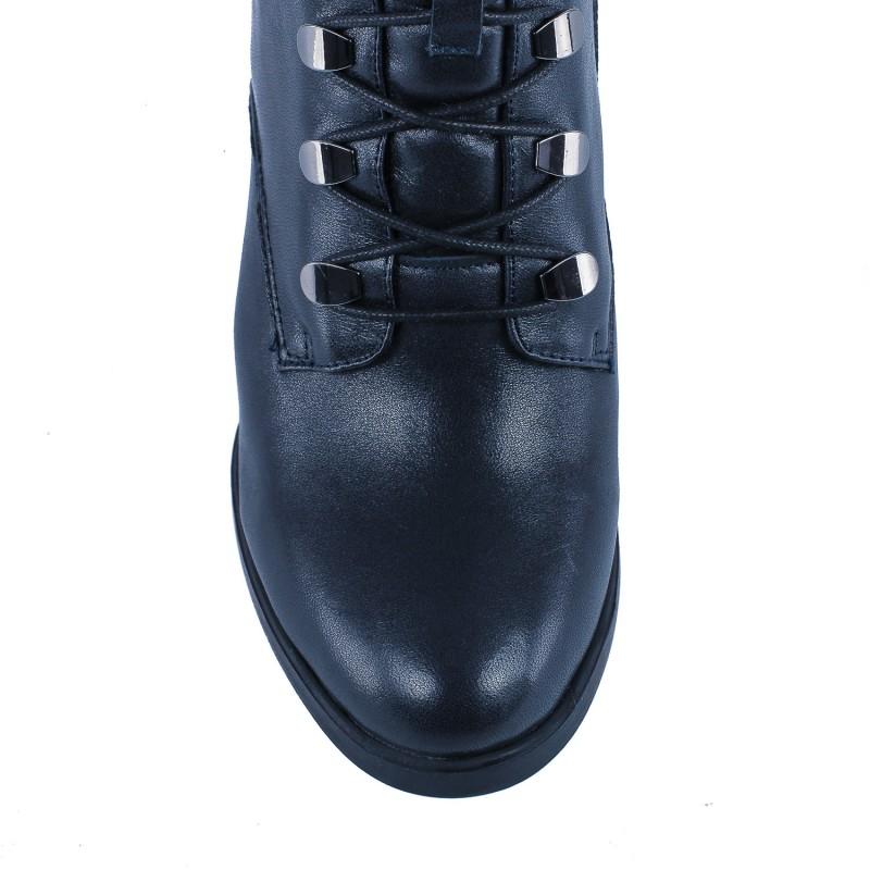 Ботильоны женские кожаные черные на высоком толстом каблуке