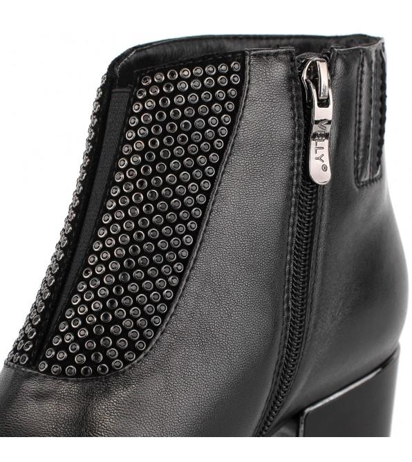 Ботильйони жіночі шкіряні чорні з квадратним каблуком Velly