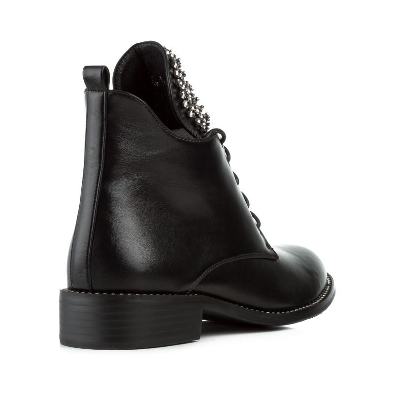Черевики жіночі чорні на низькому квадратному каблуку Gelsomino