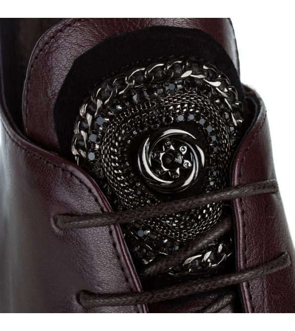 Черевики жіночі шкіряні бордові на низькому каблуку Anemone