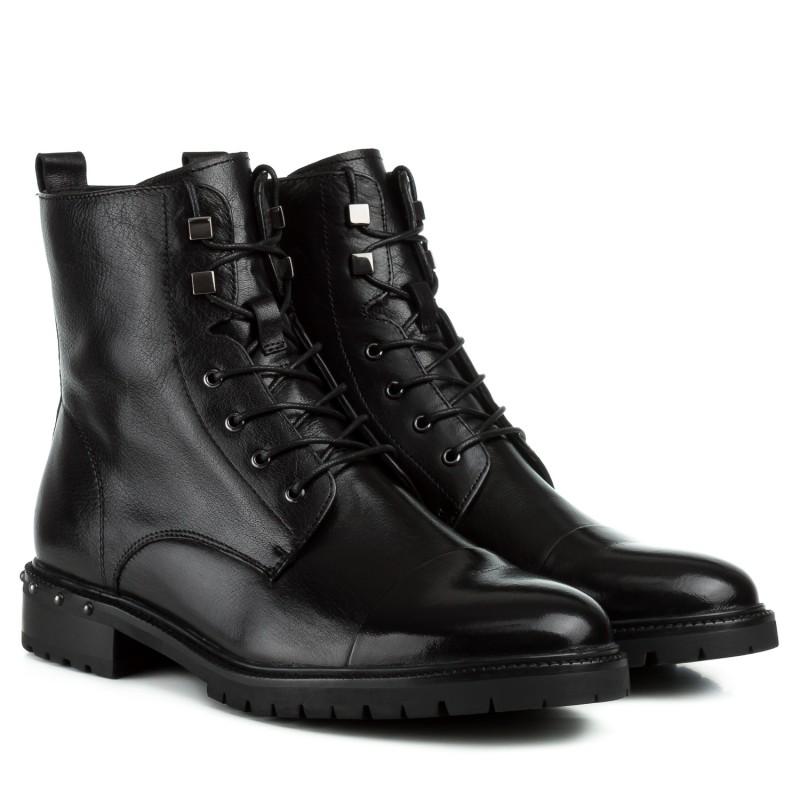 Черевики жіночі шкіряні чорні на низькому каблуку Anemone