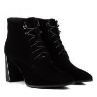 Ботильоны женские замшевые черные на толстом каблуке