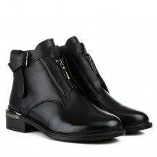 Ботинки женские кожаные черные на низком каблуке