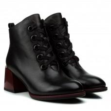 Ботильоны женские кожаные черные на квадратном каблуке