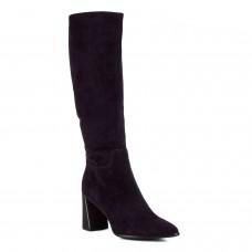 Сапоги женские замшевые сливового цвета на толстом каблуке