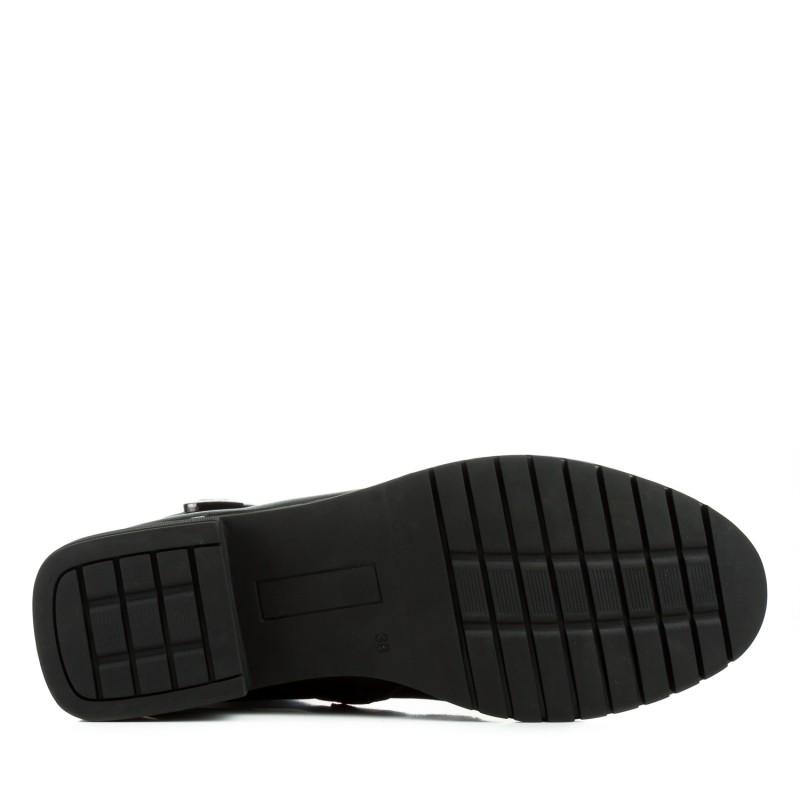 Черевики жіночі шкіряні чорні на низькому каблуку Geronea