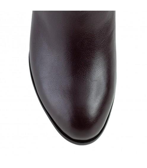 Ботильйони жіночі шкіряні фіолетові на товстому каблуку