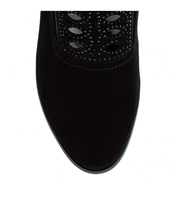 Ботильйони жіночі замшеві чорні на товстому каблуку