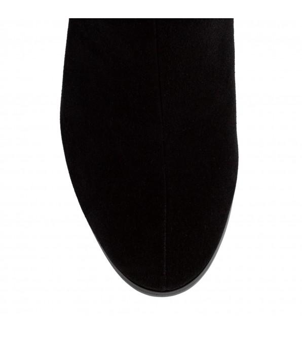 Ботильйони жіночі замшеві чорні на товстому каблуку з стразами