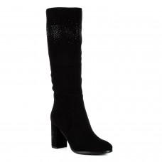 Сапоги женские замшевые черные на толстом каблуке с стразами