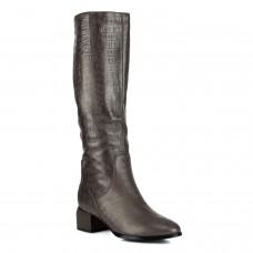 Сапоги женские кожаные коричневые на квадратном каблуке Molka