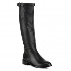 Сапоги женские кожаные черные на низком квадратном каблуке Berkonty