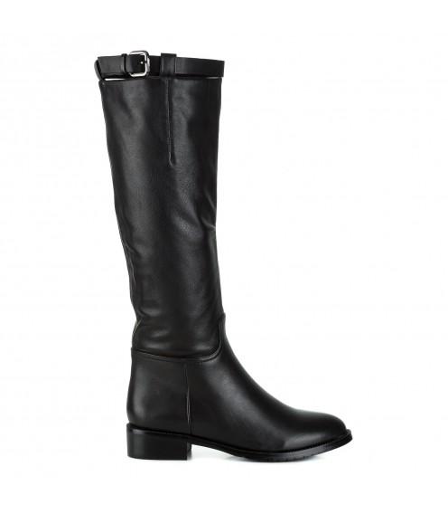 Чоботи жіночі шкіряні чорні на низькому квадратному каблуку Berkonty