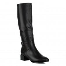 Сапоги женские кожаные черные на толстом каблуке Berkonty